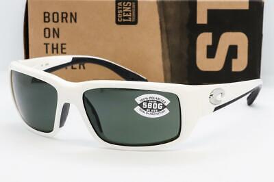 Neu Costa Del Mar - Fantail Sonnenbrillen Weiß/Grau 580G Glas Polarisierte Linse