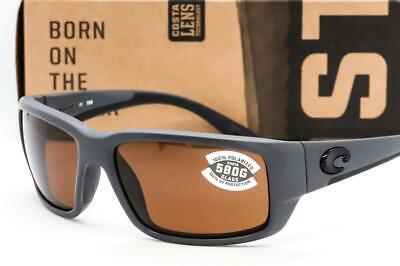 NEW COSTA DEL MAR FANTAIL SUNGLASSES Matte Gray frame / Copper 580G Glass (Del Sunglasses)