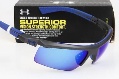 NEW UNDER ARMOUR CORE 2.0 SUNGLASSES UA Satin Carbon / Blue Multiflection (Under Armour Core Sunglasses)
