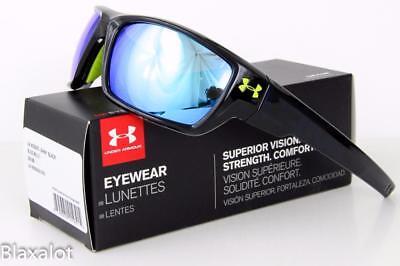 NEW UNDER ARMOUR ASSERT SUNGLASSES UA Shiny Black frame/ Blue Multiflection lens ()