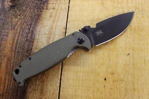 NEW DPx Gear HEST /F 2.0 OD G10 D2 Plain Edge LH Folding Knife Titanium DPHSF006