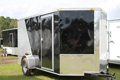 New 2021 6x12 6 X 12 V-nosed Enclosed Cargo Motorcycle Trailer Ramp Side Door