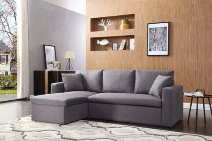 Brand New Linen Fabric Sofa Bed with Storage Chaise