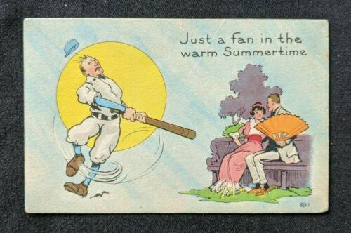 Mint Vintage Illustrated Baseball Comic Postcard