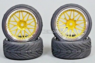 RC 1/10 Street WHEELS Tires STAGGER 3MM + 9MM Offset GOLD / Chrome (4pcs)