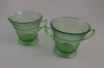 Vintage Federal Glass Cream & Sugar - Green Depression Glass - Patrician Pattern
