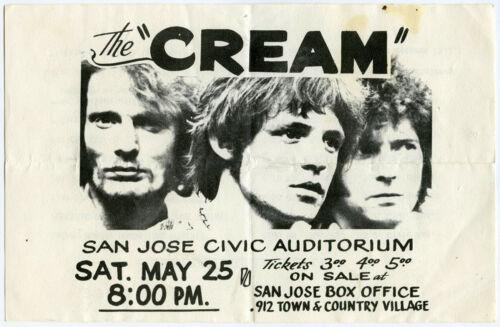 CREAM - JIMI HENDRIX Original 1968 Concert Handbill Eric Clapton Jack Bruce