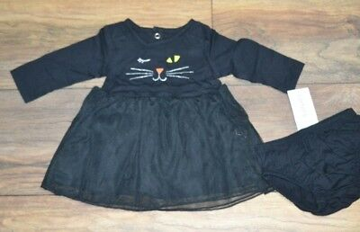 Carter's Baby Girl Black Cat Dress Great for Halloween 2 Piece Size 3 months ](Halloween Clothes For Baby Girl)