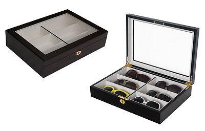 6 Slot Wood Oversized Eyeglass Sunglass Storage Display Case Organizer Box 6002E