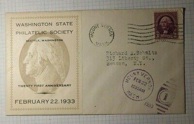 Washington State Philatelic Society Souvenir Sheet Cachet Cover 1935