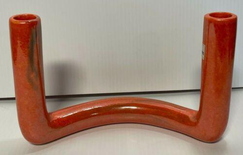 "Toyo Japan Ikebana 10"" Flower Vase Mid Century Orange Lustre Tube Sculpture"