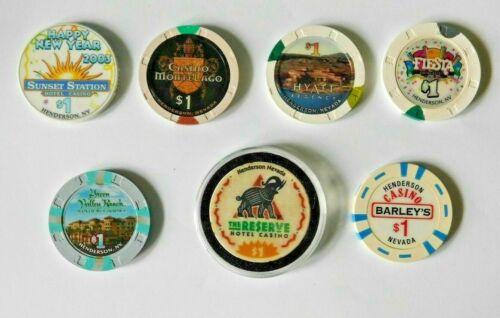 7 Vintage Casino Poker Chips $1 Henderson NV The Reserve-Fiesta-Barley