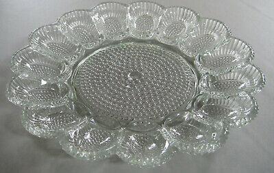 Vintage American Pressed Glass Egg Plate Platter Deviled Hobnail Clear Indiana? ()
