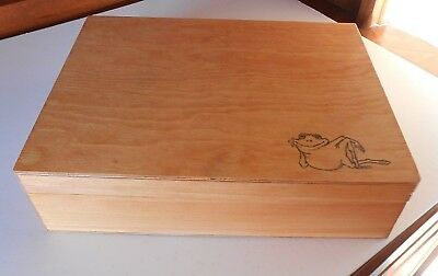 Large Stained Wooden Craft Box with Frog Stamp- 11