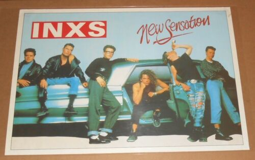 INXS New Sensation Poster Original Vintage Michael Hutchence 25x35.5