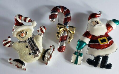 Vintage Christmas Holiday Brooch Pin Lot Santa Legs Move Snowman Candy Cane Lot