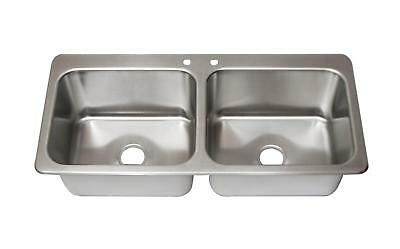 Bk Resources Two Compartment 2 20 X 16 Bowls- Drop-in Sink Wfaucet