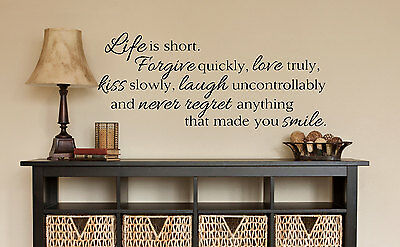 (LIFE IS SHORT Wall Art Decal Quote Words Lettering Decor DIY Sticker)