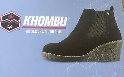 "Khombu ""Liz"" - Memory Foam Suede Leather Wedge Ankle Boots - Black Size UK 4"