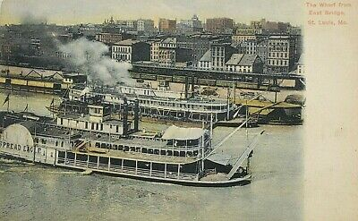 The Wharf from East Bridge, St. Louis, MO Spread Eagle Paddle Boat Postcard