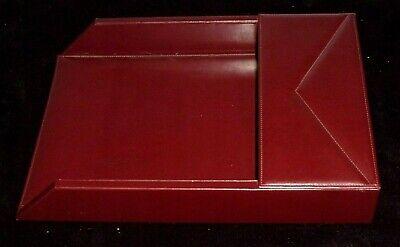 Rare Stuart Kern America Leather Burgundy Desk Paper Tray Organizer 16 X 11