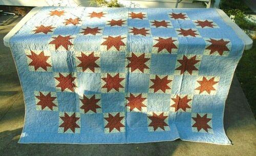 "fine antique PA Dutch Ohio star hand sewn quilt 68"" x 66"""