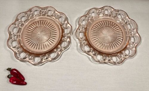 """Set of 2 Old Colony Lace Anchor Hocking Pink Plates Saucers Bread Dessert 6"""""""
