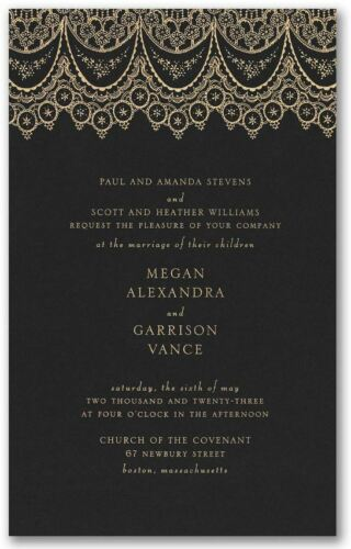 Personalized Wedding Invitations Engraved Lace Black or Navy Option Luxe Size