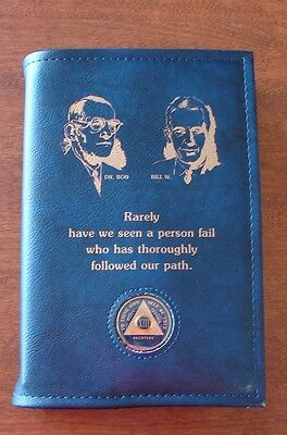 Alcoholics Anonymous AA Big Book Founders Medallion Holder Blue Cover Sobrity Big Book Cover