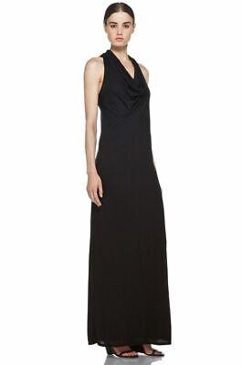 Helmut Lang Black Modal Racerback Waterfall Maxi Dress (Size L)