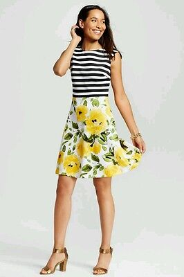 STUDIO ONE Striped Bodice Floral Print Skirt Fit & Flare Dress SMALL *NWT* Bodice Print Skirt