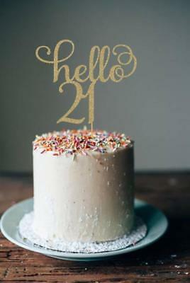 Glitter Gold Hello 21 Cake Topper 21st 30 40 50 60th Birthday Party Decoration