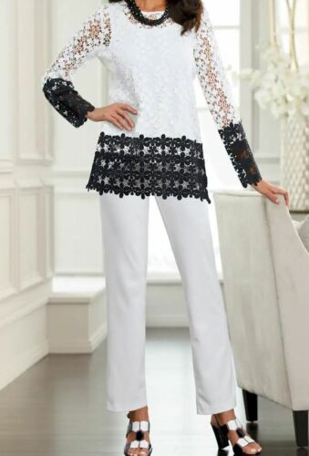 size small Leslie Lace Pant Set Suit by MIdnight Velvet new