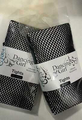 DANCING GIRL BLACK FISHNET TIGHTS  SIZES XL/XXL UPTO 60