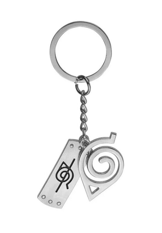 "Naruto Itachi Uchiha Leaf Village Headband Keychain Silver Anime 1.5"" US Seller"