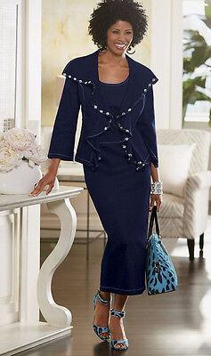 plus sz 18W Elysha Denim Skirt Church Suit by Ashro new