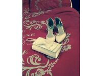 Size 4 Wedding Shoes and Wedding Clutch bag (excellent condition)