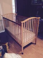 Crib, mattress and two sets of bumper pads