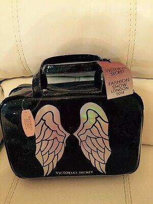 HION SHOW Black Bling Angel Make Up Train Case Handle Tote (Black Angel-make-up)