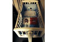 Mothercare white swinging crib,mattress & bedding