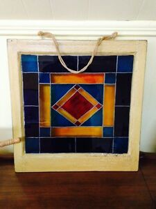 """Antique Painted Stained Glass Window, 21"""" x 20.5"""""""