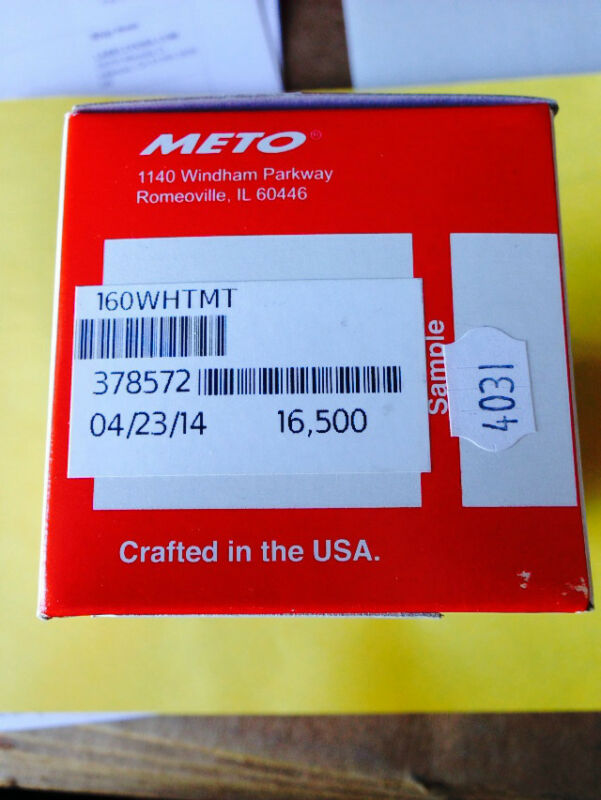 METO 5.16 WHITE LABELS  GENUINE METO 1650/RL 10RLS/BOX + INK ROLLER