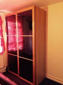 £40 Sliding Glass Wardrobe with shelves & hanging rails for Sale!