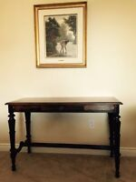 turned walnut console table