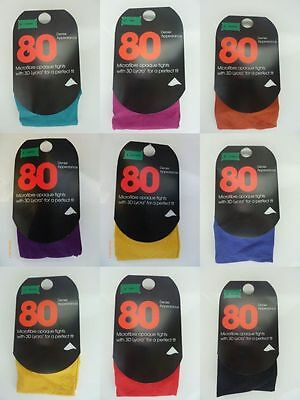 1 PAIR OF Primark 80 Denier Colour Bright Tights Green,Blue,Black,Orange,Blue  - Bright Green Tights