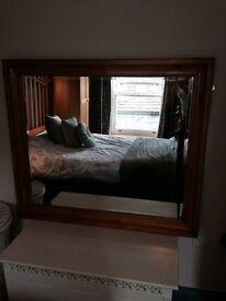 Large bevelled wooden mirror - part of set