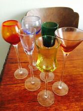 Gorgeous antique modelled port glasses - set of six in various colours Marrickville Marrickville Area Preview