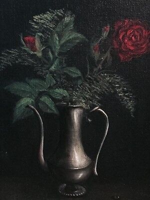 Vintage Oil On Canvas Still Life Painting of roses Signed By Artist.