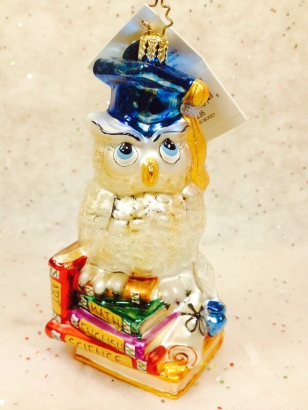 RADKO Graduate OWL Ornament HOO KNOWS MORE? NWT Teacher Student Graduation Tutor