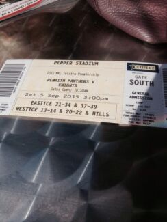 2 penrith Panthers general admission tickets  Cranebrook Penrith Area Preview